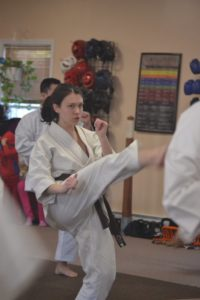 Adult woman doing karate