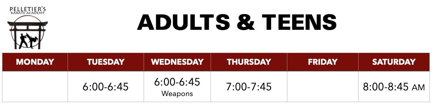 Class schedule for Adults & Teens