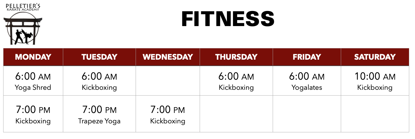 Class schedule for fitness classes