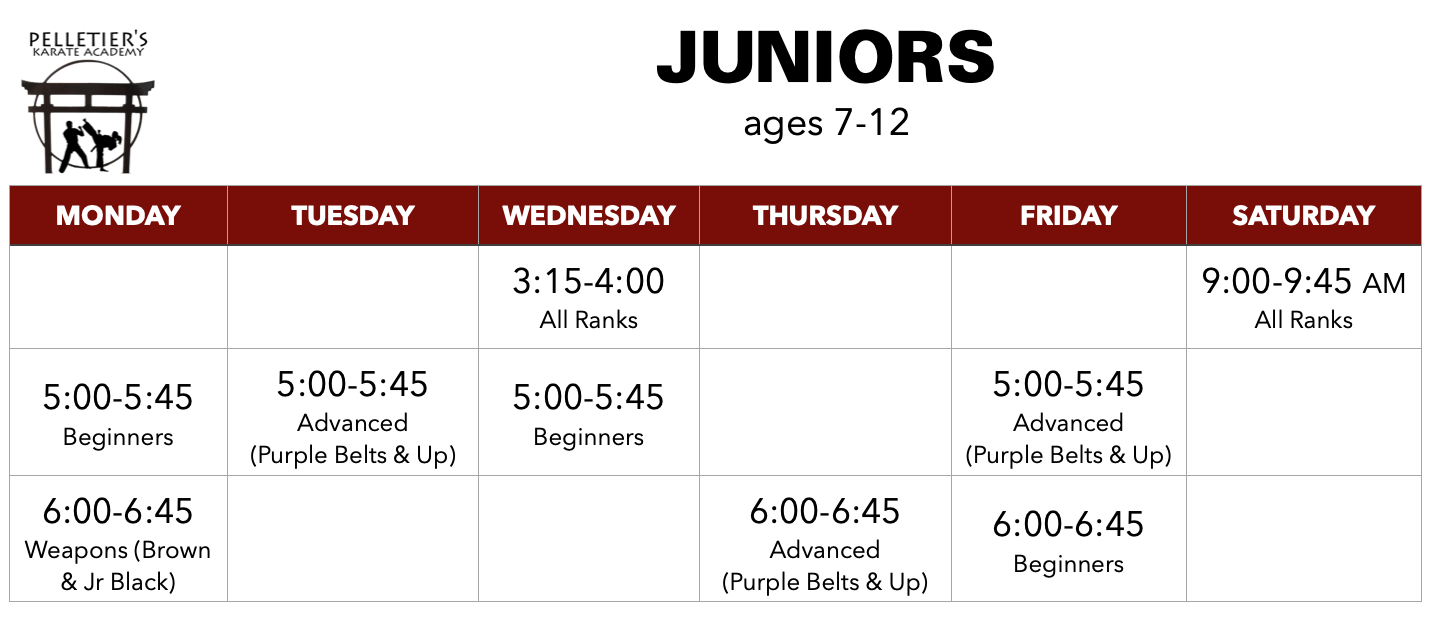 Class schedule for Juniors (ages 7-12)