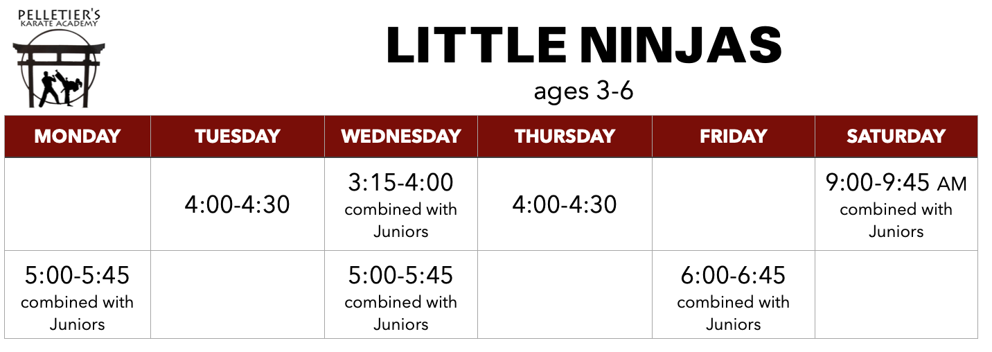 Class schedule for Little Ninjas (ages 3-6)